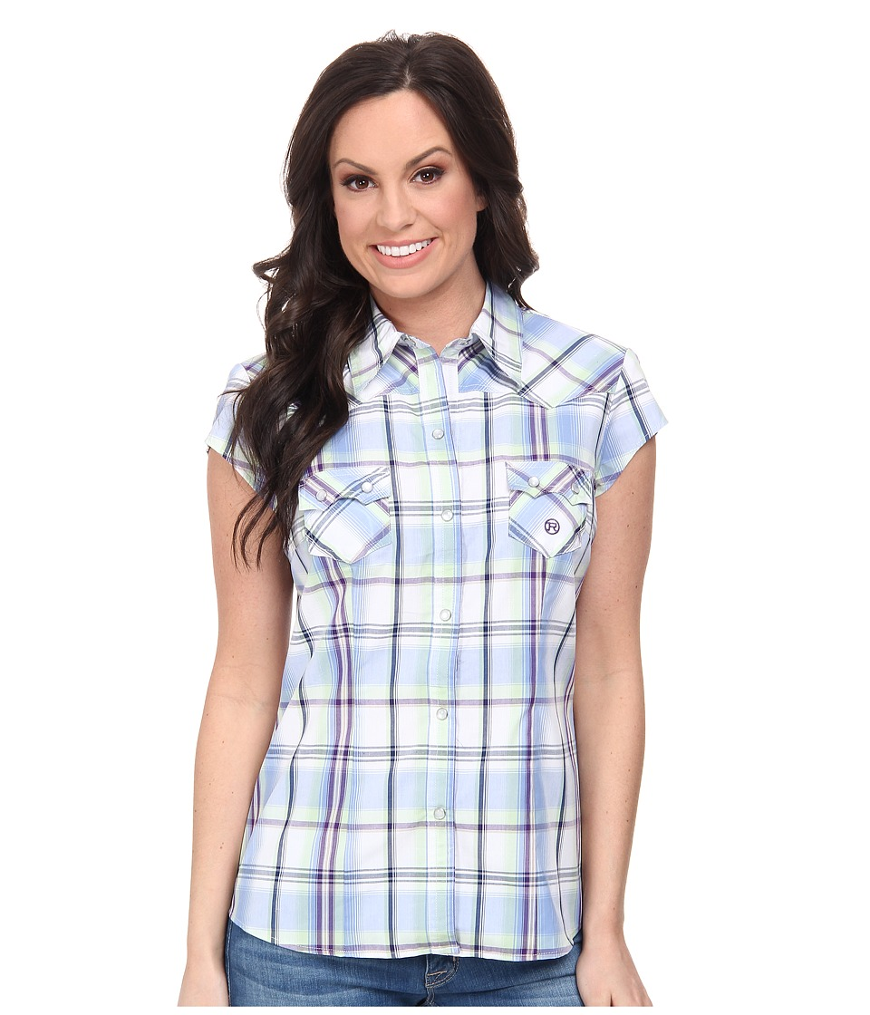 Roper - 9538 Tall Grass Plaid (Blue) Women's Clothing