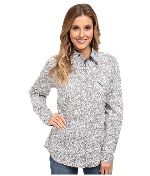 Roper - 9526 Baroque Print (Black) Women's Long Sleeve Button Up