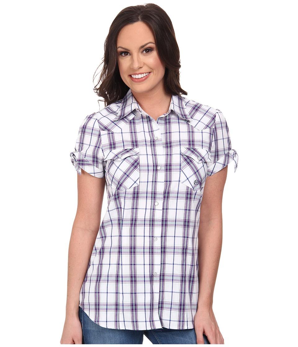 Roper - 9537 Blue Berry Plaid (White) Women's Clothing