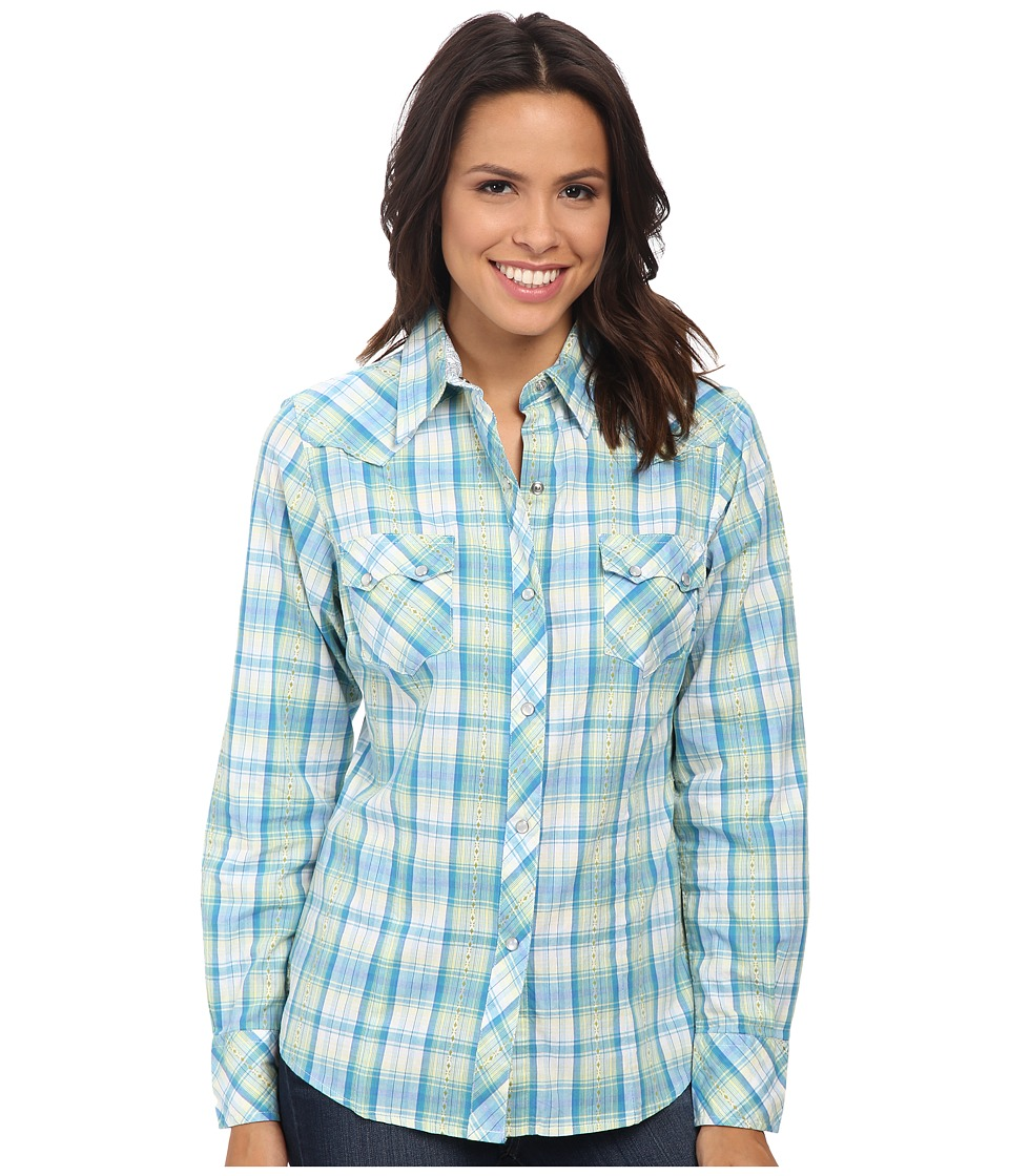 Roper - 9533 Sand Dune Plaid (Blue) Women's Clothing