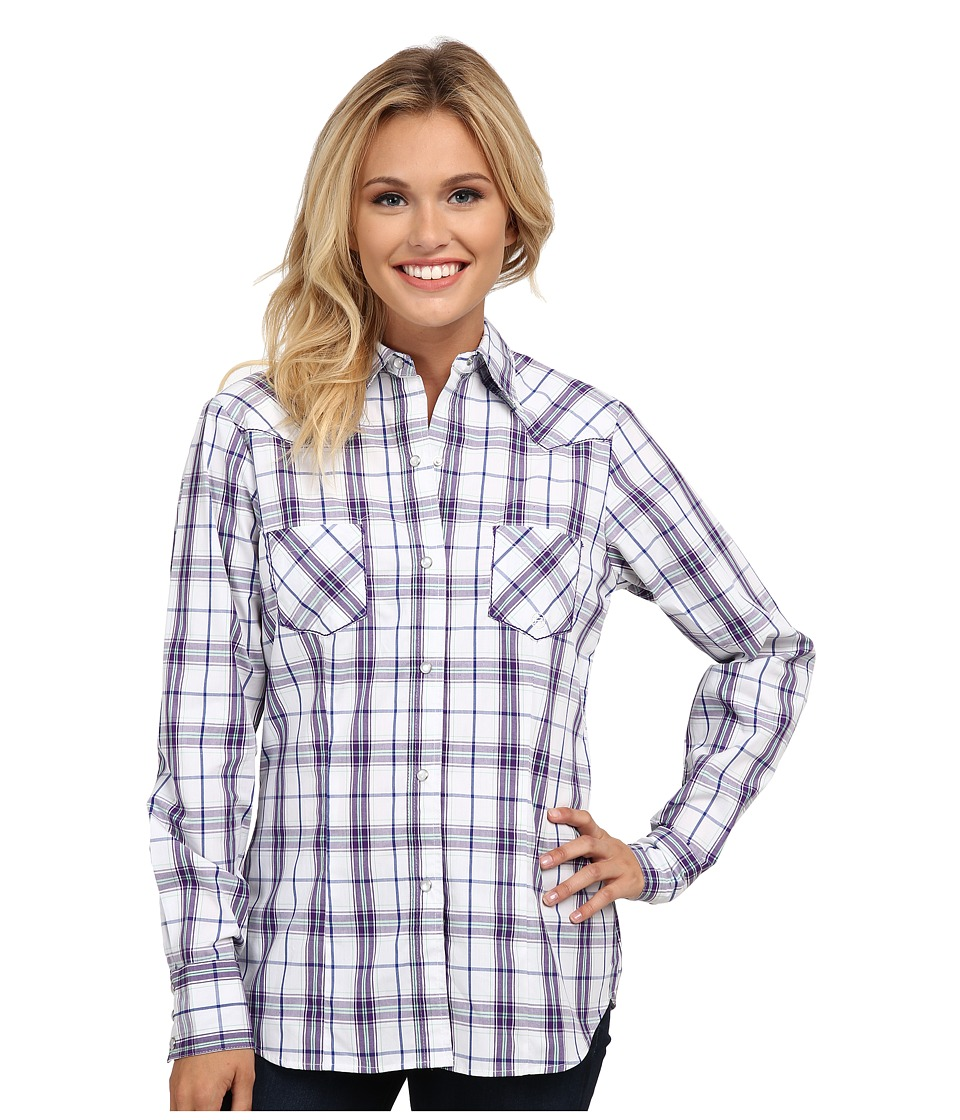 Roper - 9537 Blue Berry Plaid (White) Women's Clothing