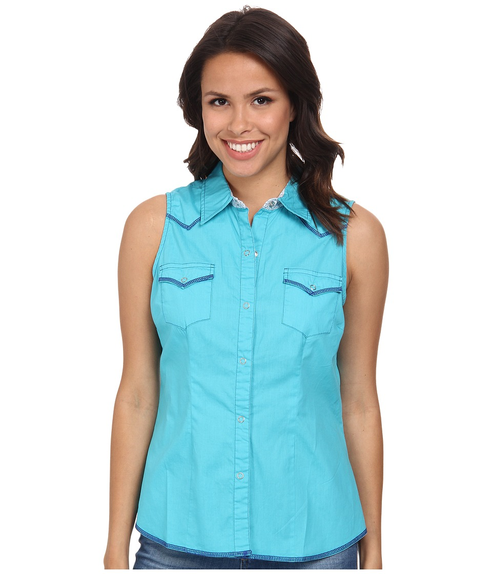 Roper - 9524C2 - Solid Poplin (Blue) Women's Clothing