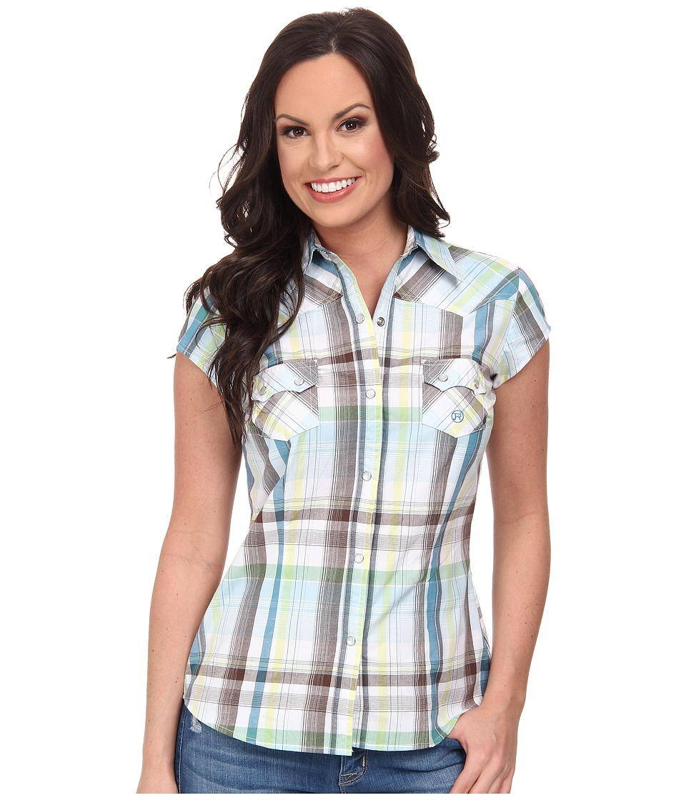 Roper - 9542 Natures Plaid (Blue) Women's Clothing