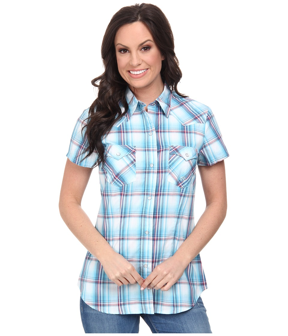 Roper - 9539 Blue Mesa Plaid (Blue) Women's Clothing