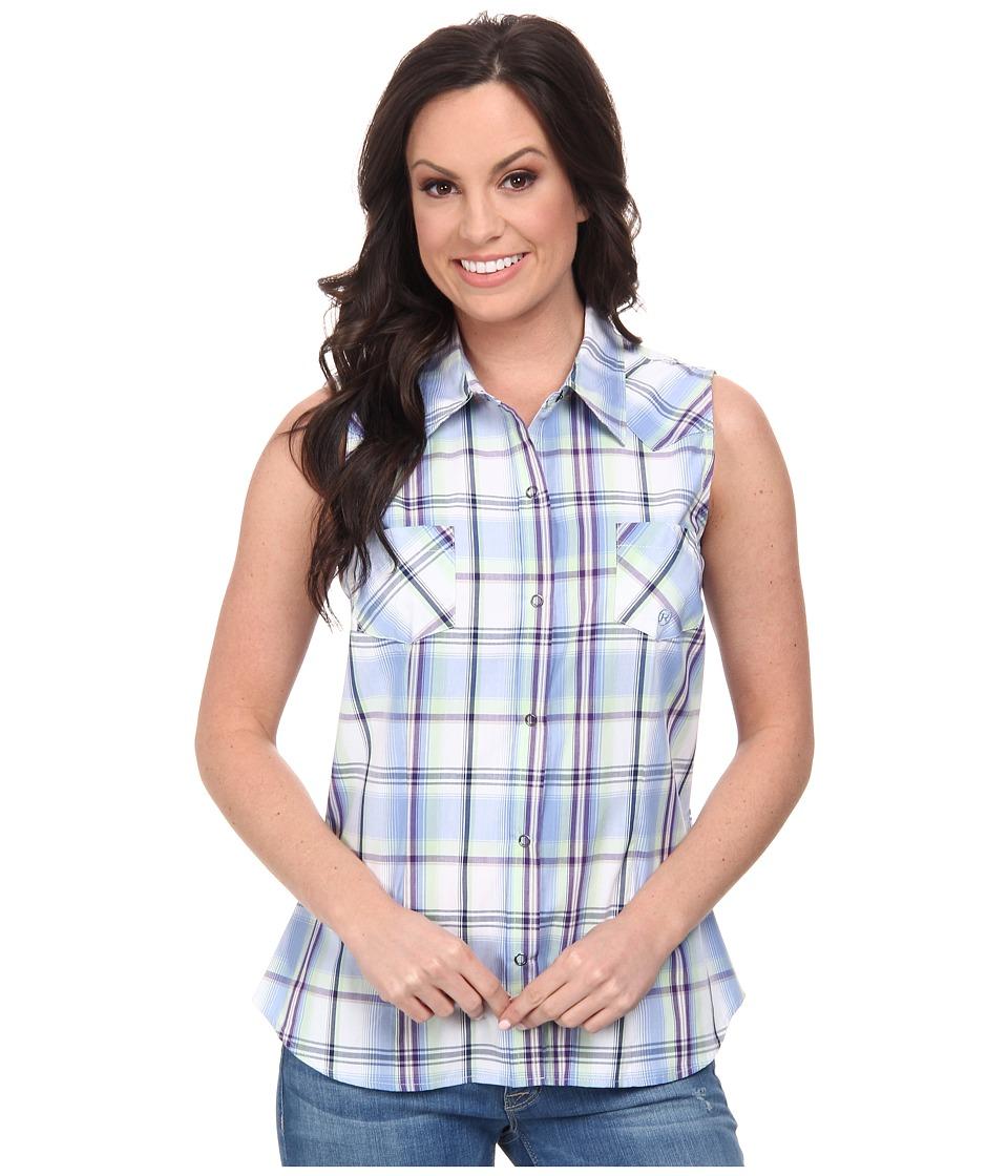 Roper - 9538 Tall Grass Plaid (Blue) Women's Clothing