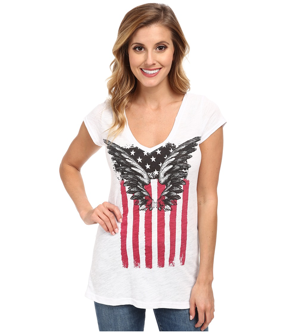 Roper - 9597 C/P Slub Jersey V-Neck Tee (White) Women's T Shirt