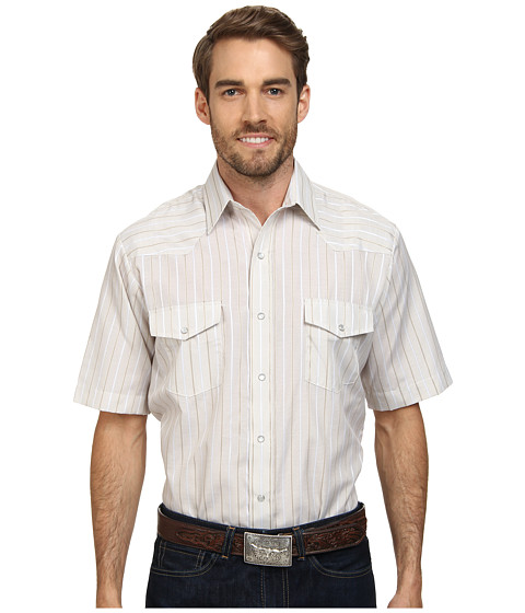 Roper - 9657 Tan Stripe (Brown) Men's Short Sleeve Button Up