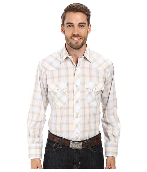 Roper - 9664 Blue Tan Plaid w/ Gold Lurex (Blue) Men's Clothing