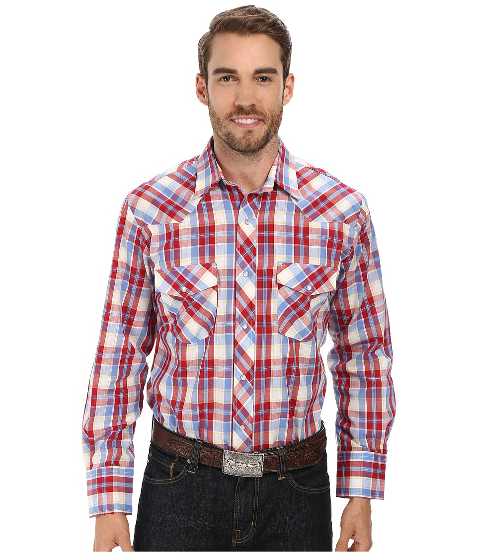 Roper - 9665 Primary Plaid (Red) Men's Long Sleeve Button Up