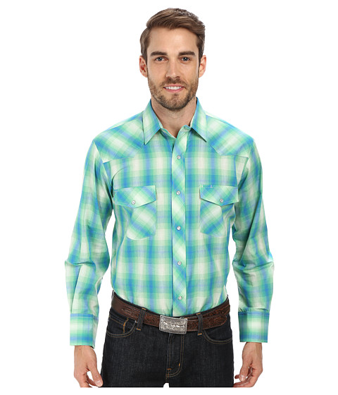 Roper - 9675 Kelly Green Blue Plaid (Green) Men's Clothing