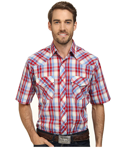 Roper - 9665 Primary Plaid (Red) Men's Short Sleeve Button Up
