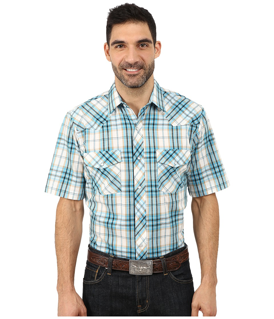 Roper - 9662 Tan Turquoise Plaid w/ Turquoise Lurex (Blue) Men's Clothing