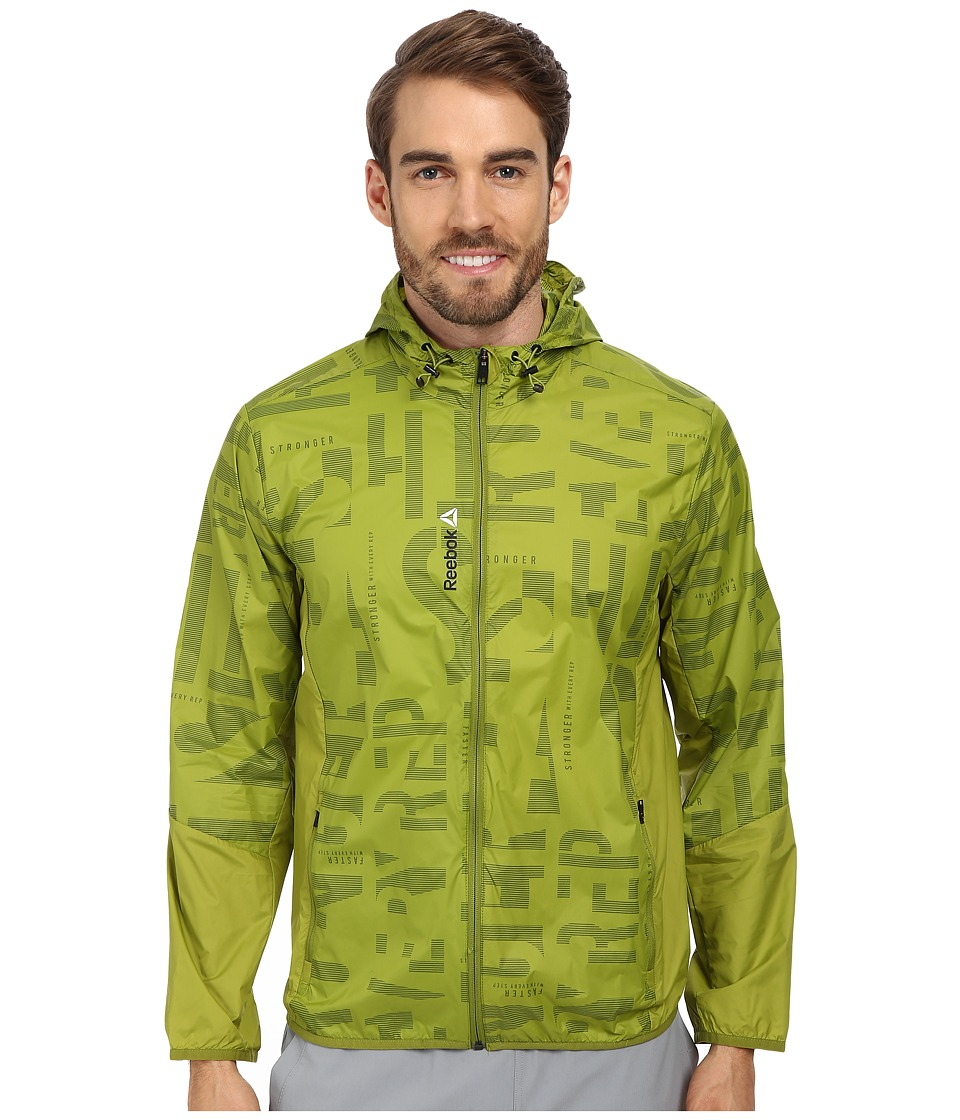 Reebok - One Series Hooded Wind Jacket (Fili Green) Men's Coat