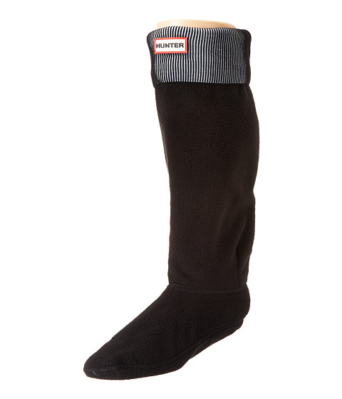 Hunter - Pleated Rib Boot Sock (Black/Optic White) Women