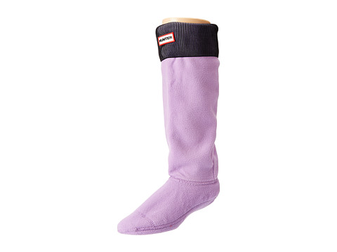 Hunter - Pleated Rib Boot Sock (Black/Bright Lavendar) Women's Crew Cut Socks Shoes