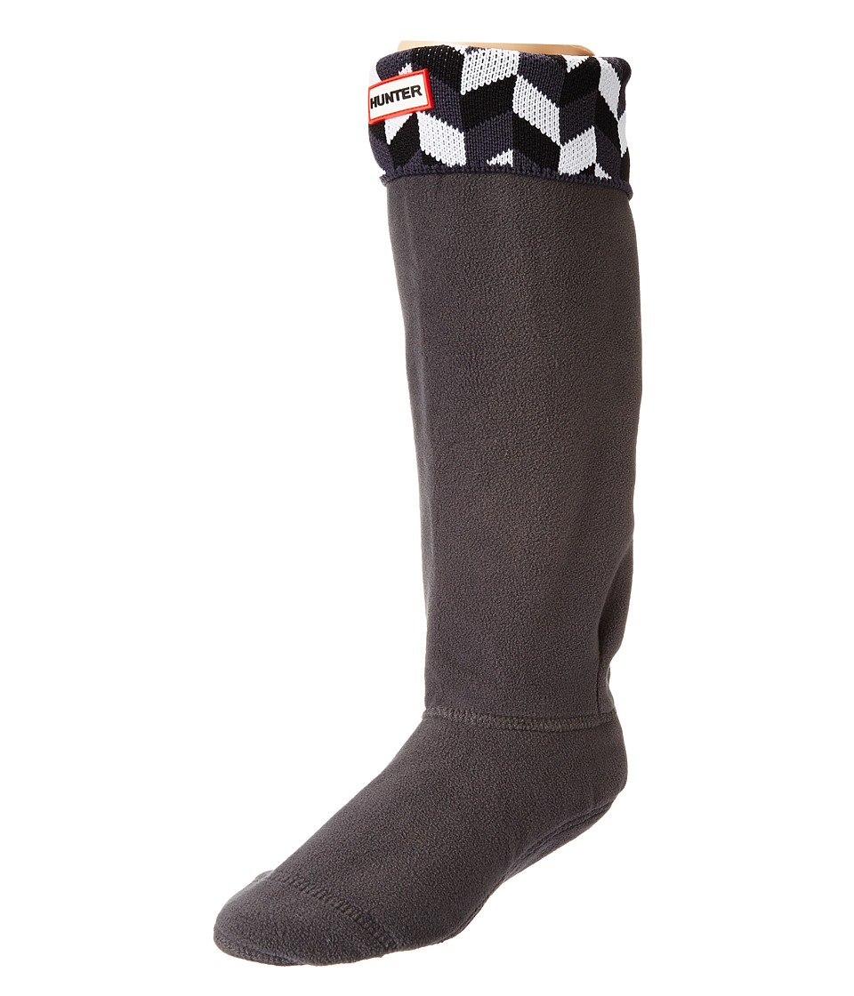 Hunter - Geometric Dazzle Boot Sock (Grey/White) Women's Crew Cut Socks Shoes