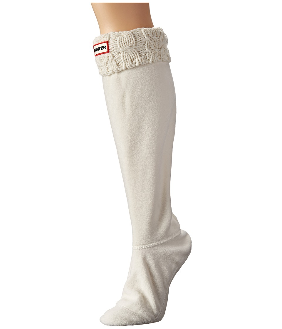 Hunter - Dual Cable Knit Boot Socks (White) Women's Crew Cut Socks Shoes