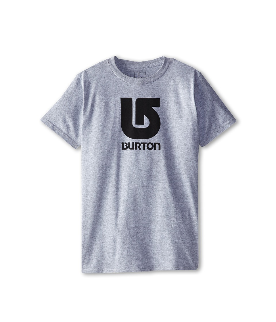 Burton Kids - Logo Vertical S/S Tee (Big Kids) (Grey Heather) Boy's Short Sleeve Pullover