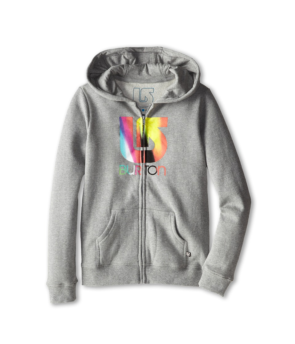 Burton Kids - Logo Vertical Full Zip Hoodie (Big Kids) (Grey Heather) Girl