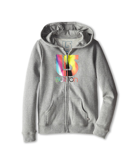 Burton Kids - Logo Vertical Full Zip Hoodie (Big Kids) (Grey Heather) Girl's Sweatshirt