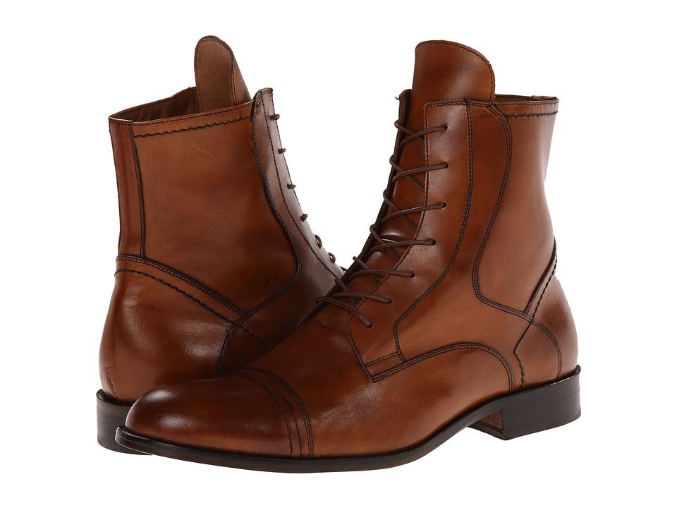 Massimo Matteo - 7-Eye Cap Toe Boot (Tan Burnished) Men's Boots