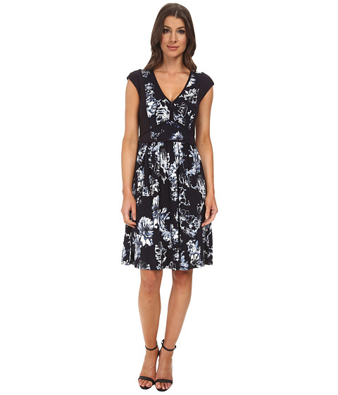 Adrianna Papell - V-Neck Skater Dress (Navy Multi) Women's Dress