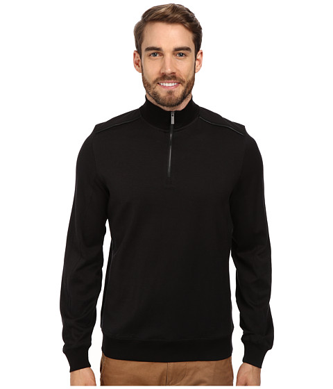 Calvin Klein - Jacquard 1/4 Zip Sweatshirt (Black) Men's Sweatshirt
