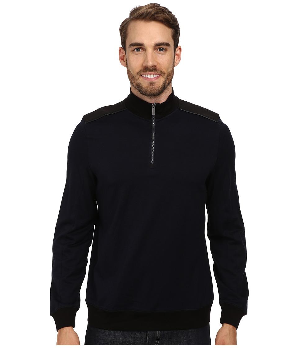 Calvin Klein - Jacquard 1/4 Zip Sweatshirt (Insignia Blue) Men