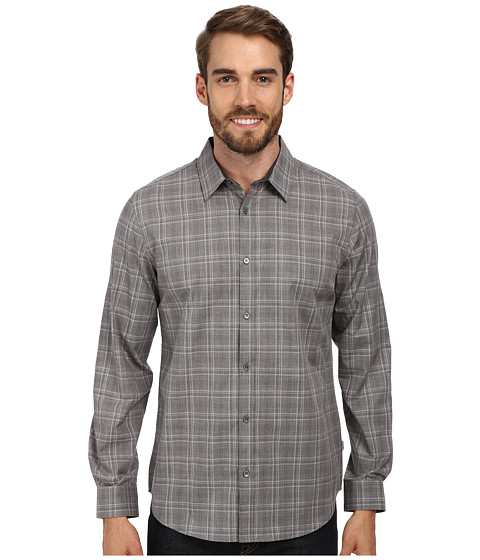 Calvin Klein - Gingham Heathered Dobby Woven Shirt (Cloud Heather) Men's Long Sleeve Button Up