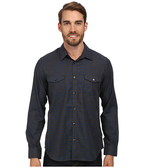 Calvin Klein - Herringbone Gingham Woven Shirt (Patent Blue) Men's Long Sleeve Button Up