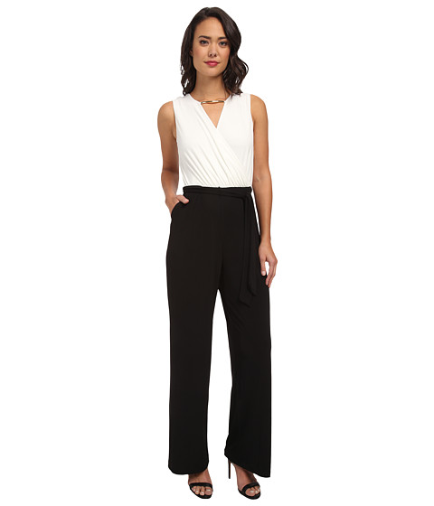 Calvin Klein - Jumpsuit with Gold Neck Hardware CD4A1461 (Cream/Black) Women