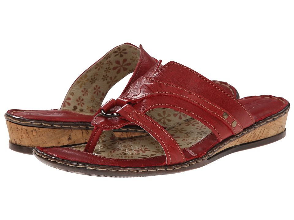 Lobo Solo - Indigo Thong (Red Leather) Women