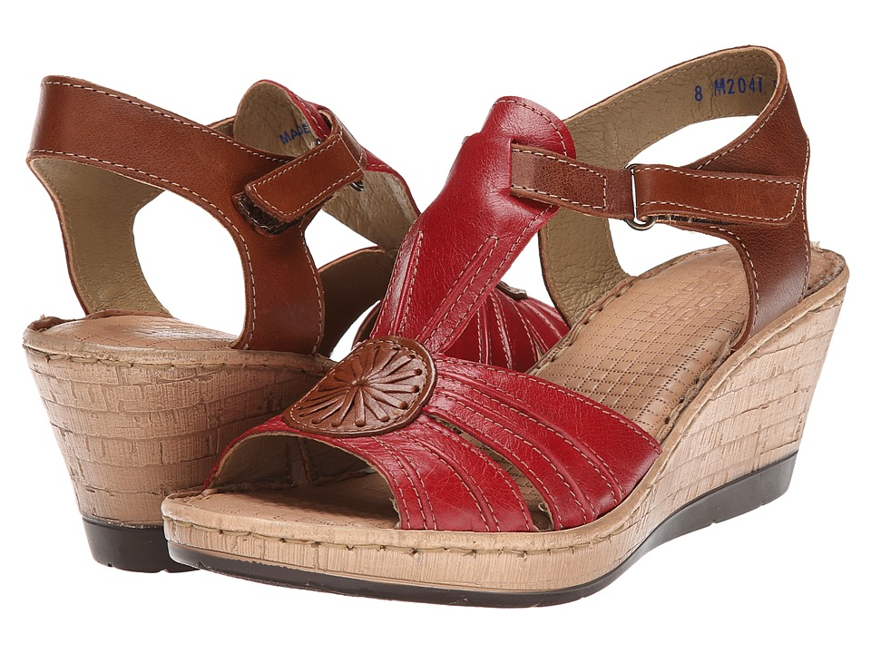 Lobo Solo - Melly T (Red/Nude Leather) Women's Sandals