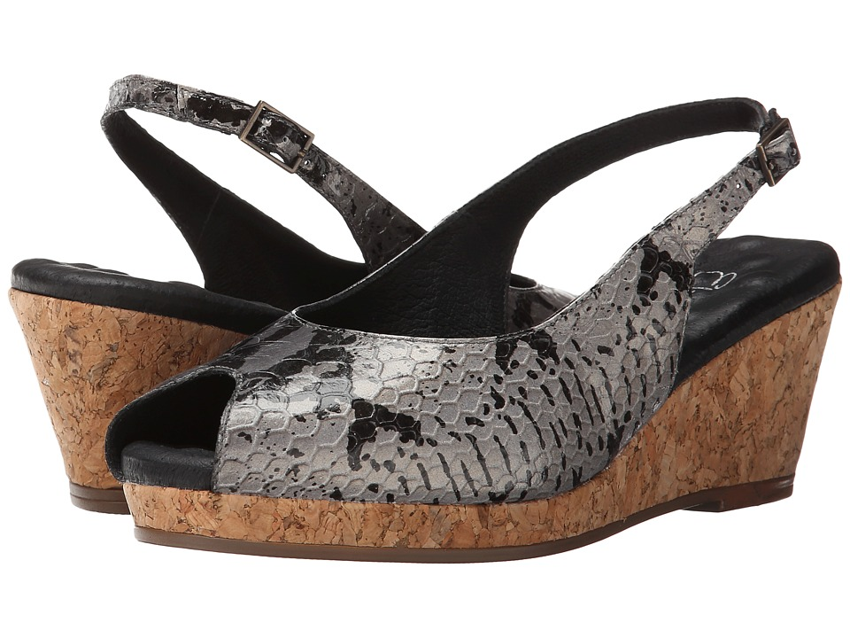 Walking Cradles - Amore (Black/Grey Cobra Print Leather) Women's Shoes