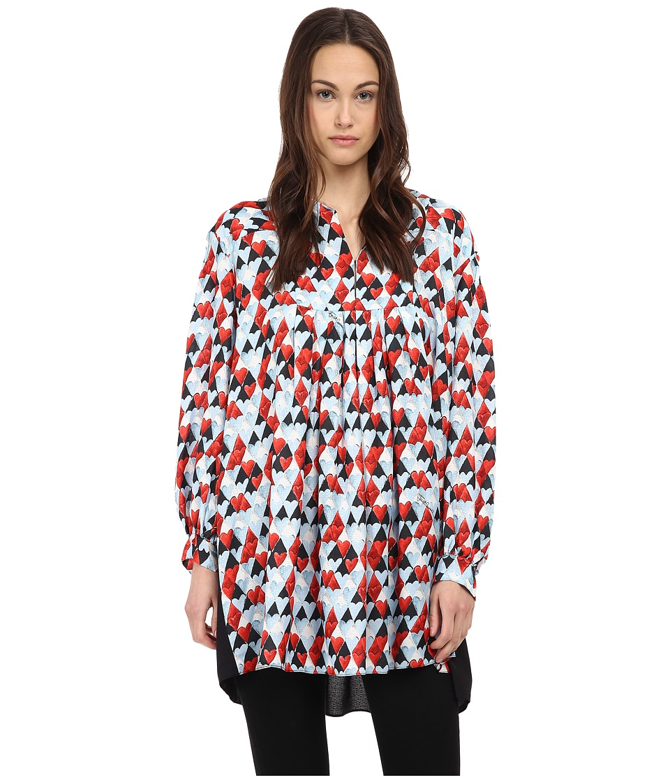 Just Cavalli - L/S Geometic Print Top (Sky Variant) Women