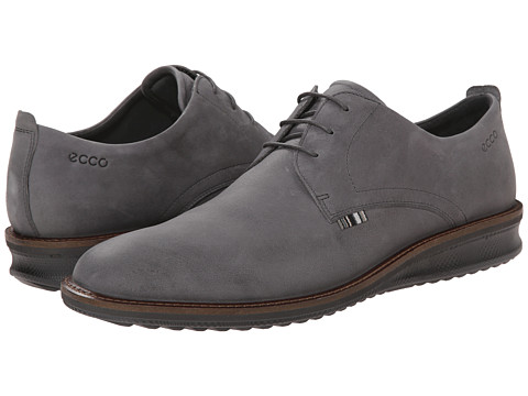 ECCO - Contoured Plain Toe Tie (Dark Shadow) Men's Shoes