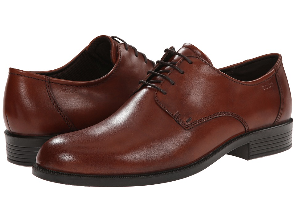 ECCO - Harold Plain Toe Tie (Cognac) Men's Plain Toe Shoes