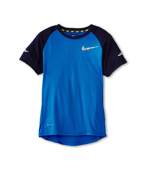 Nike Kids - Miller GFX S/S Crew Top (Little Kids/Big Kids) (Light Photo Blue/Obsidian) Boy