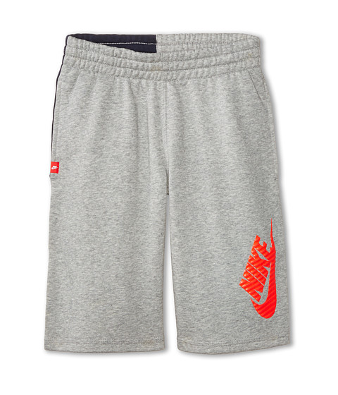 Nike Kids - N45 HBR FT Short (Little Kids/Big Kids) (Dark Grey Heather/Obsidian/Hot Lava) Boy's Shorts