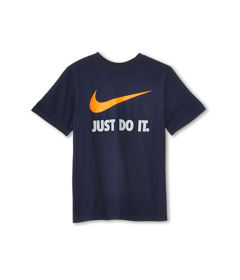 Nike Kids - JDI Swoosh Tee (Little Kids/Big Kids) (Obsidian/Dark Grey Heather/Bright Citrus) Boy