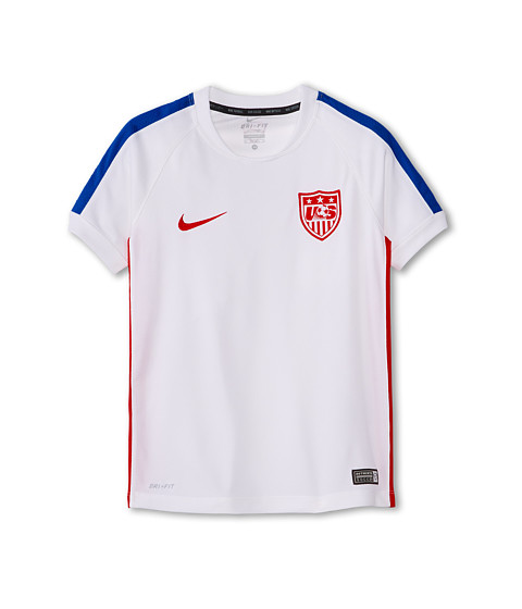 Nike Kids - USA Squad S/S Training Top 2 (Little Kids/Big Kids) (White/Game Royal/University Red) Boy