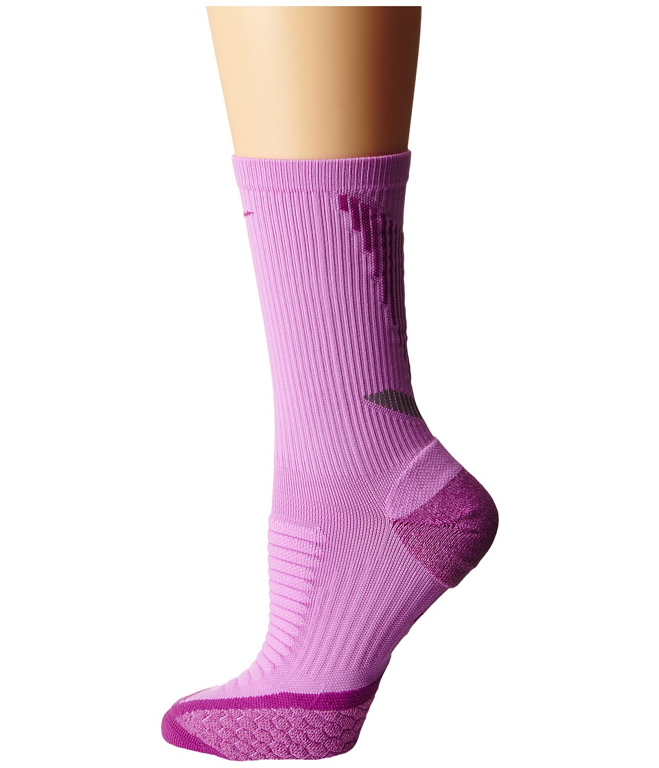Nike - Elite Running Cushion Crew (Fuchsia Glow/Medium Berry/Medium Berry) Crew Cut Socks Shoes
