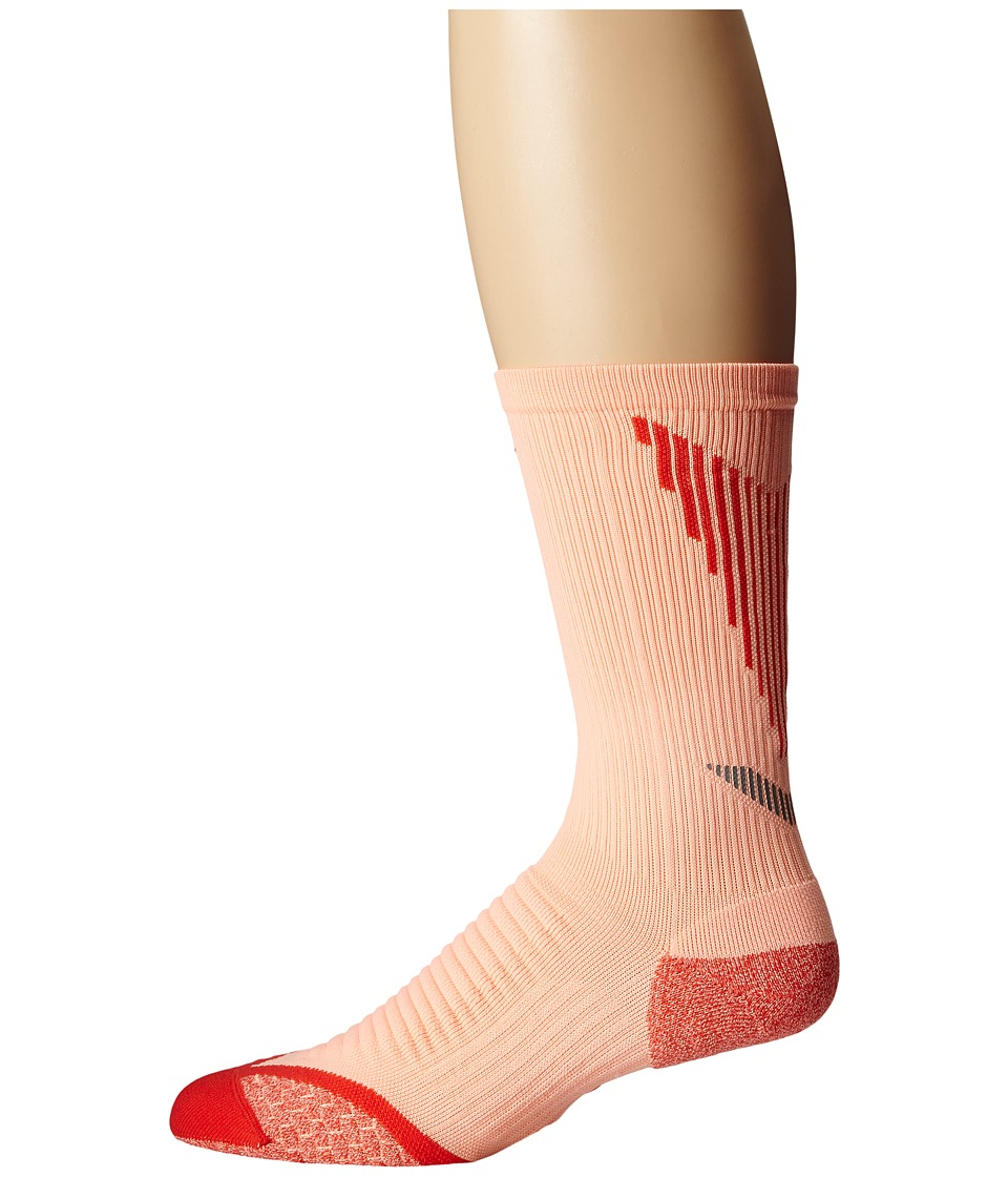 Nike - Elite Running Cushion Crew (Sunset Glow/Daring Red/Daring Red) Crew Cut Socks Shoes