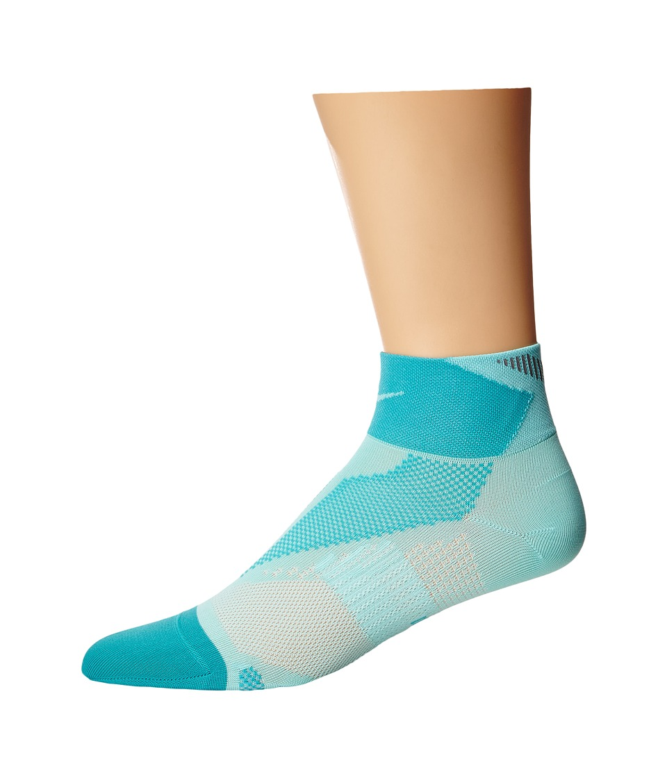 Nike - Elite Run Lightweight Quarter (Astisan Teal/Light Retro/Artisan Teal) Quarter Length Socks Shoes