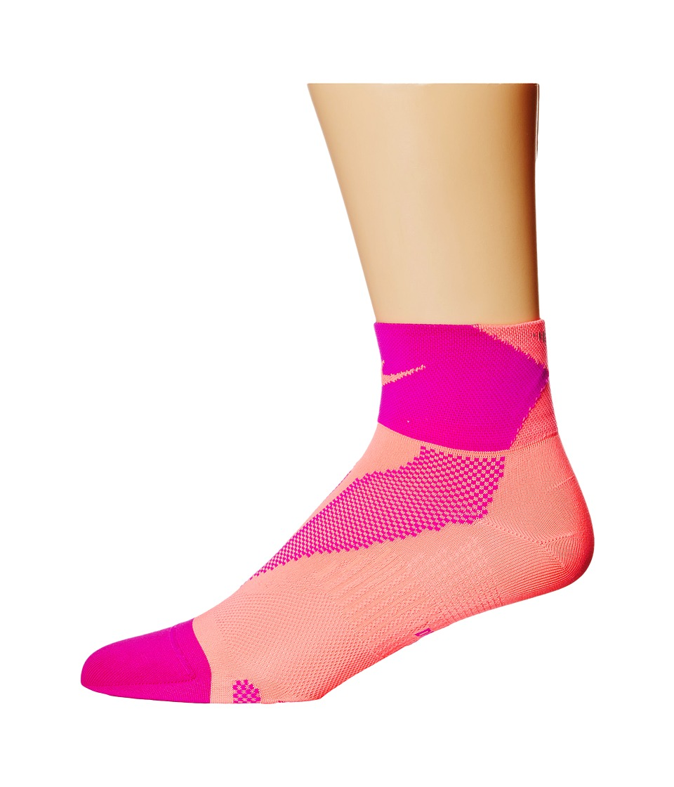 Nike - Elite Run Lightweight Quarter (Lava Glow/Fuchsia Flash/Lava Glow) Quarter Length Socks Shoes