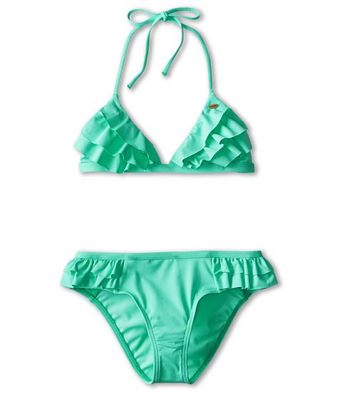 O'Neill Kids - Fashion Solids Ruffle Tri Bikini (Big Kids) (Light Aqua) Girl's Swimwear Sets