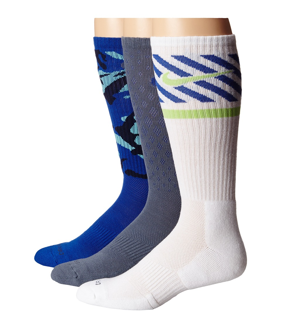 Nike - Dri-FIT Triple Fly Crew 3-Pack (Base Grey/Game Royal/Game Royal/Base Grey/White/Key Lime) Crew Cut Socks Shoes