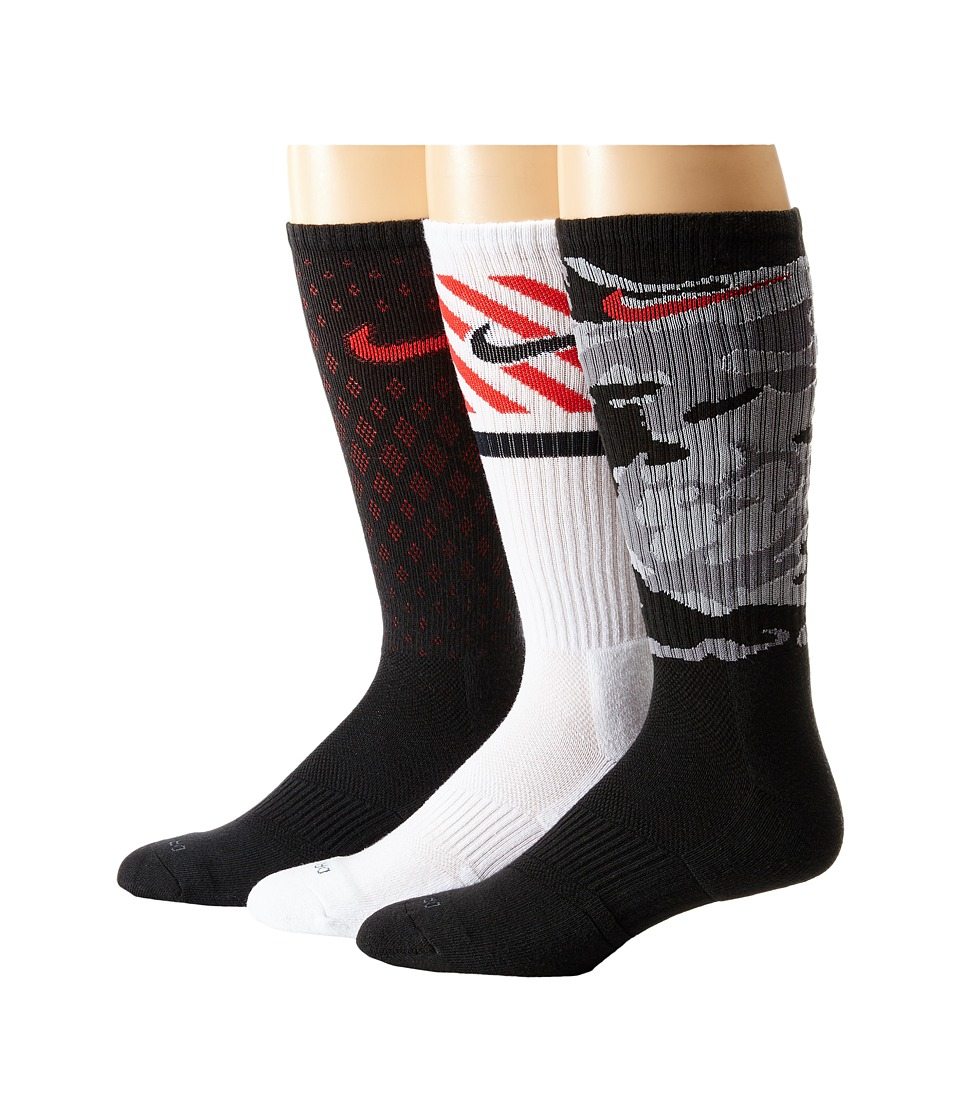 Nike - Dri-FIT Triple Fly Crew 3-Pack (Black/University Red/Black/University Red/White/Black) Crew Cut Socks Shoes