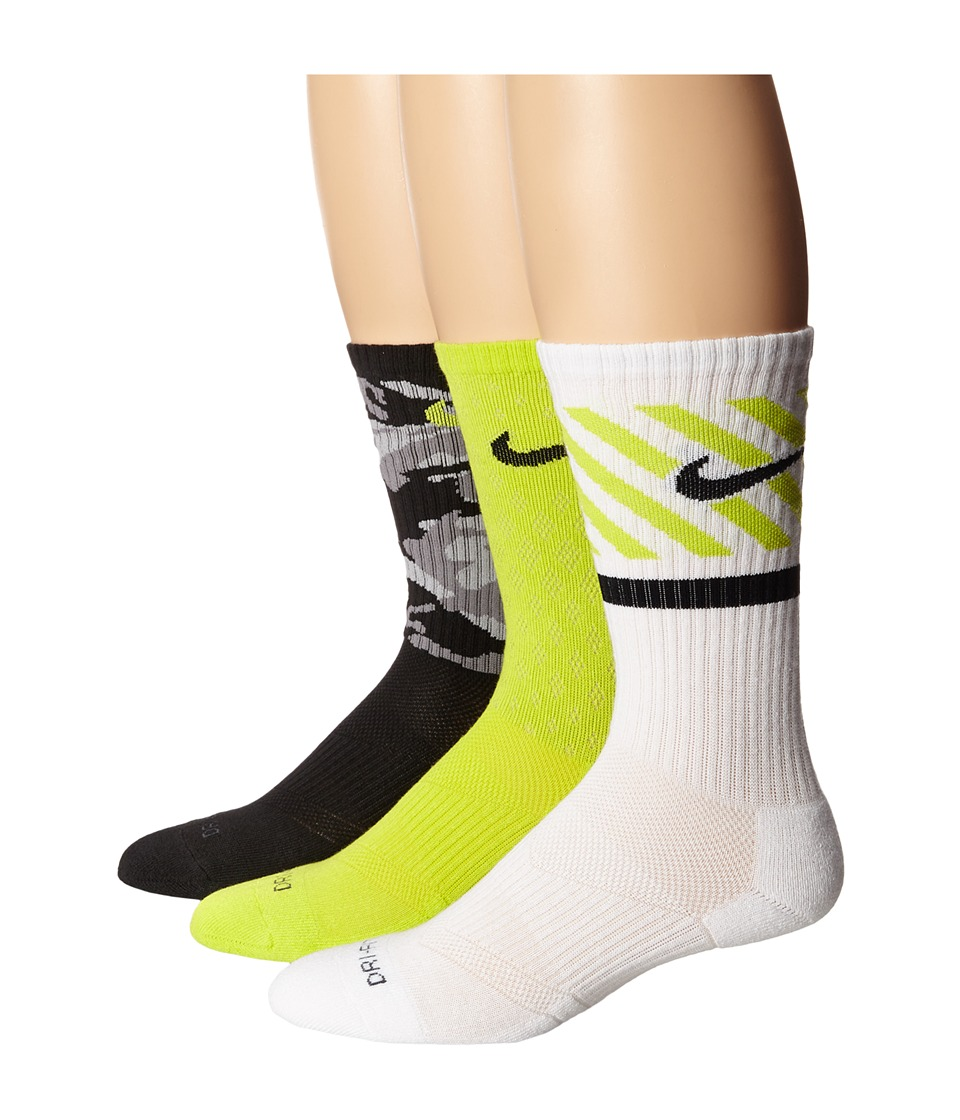 Nike - Dri-FIT Triple Fly Crew 3-Pack (Cyber/Black/Black/Cyber/White/Black) Crew Cut Socks Shoes