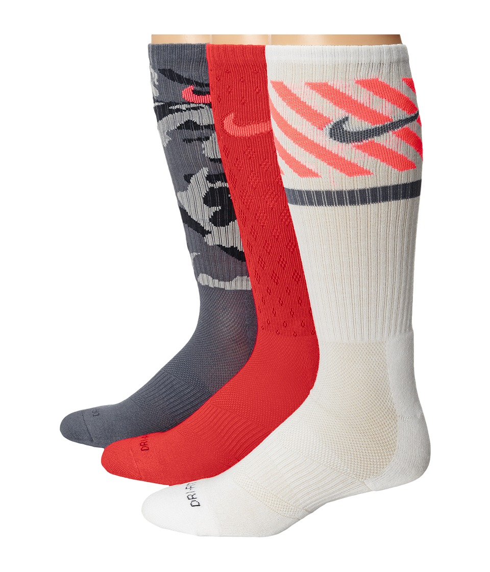 Nike - Dri-FIT Triple Fly Crew 3-Pack (Daring Red/Hot Lava/Base Grey/hot Lava/White/Base Grey) Crew Cut Socks Shoes